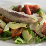 Bonito, tomatoes and avocado salad
