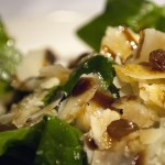 Spinach, Parmesan cheese and raisins salad